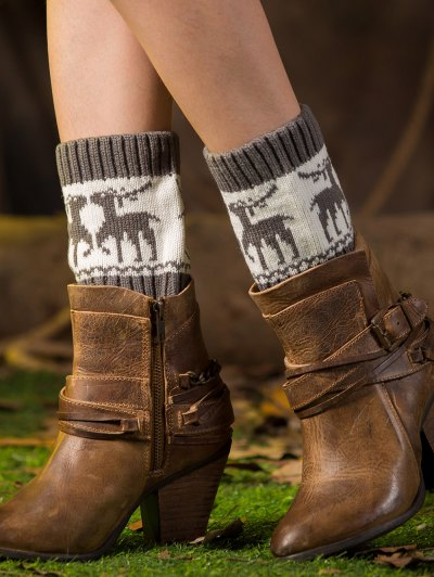 Christmas Deer Boot Cuffs - GRAY  Mobile