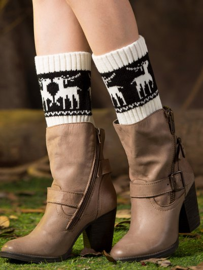 Christmas Deer Boot Cuffs - WHITE  Mobile