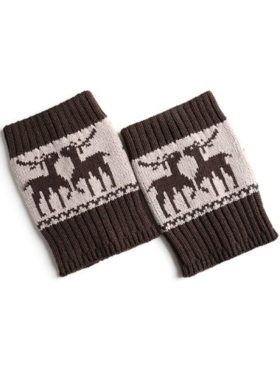 Christmas Deer Boot Cuffs - ESPRESSO  Mobile