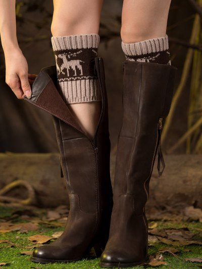 Christmas Deer Boot Cuffs - BEIGE  Mobile