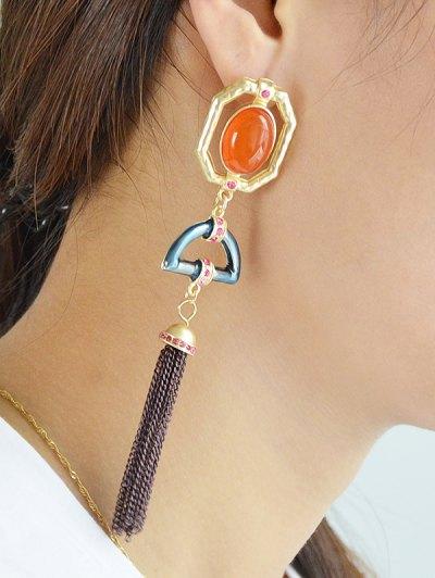 Artificial Gemstone Oval Tassel Chain Earrings - GOLDEN  Mobile