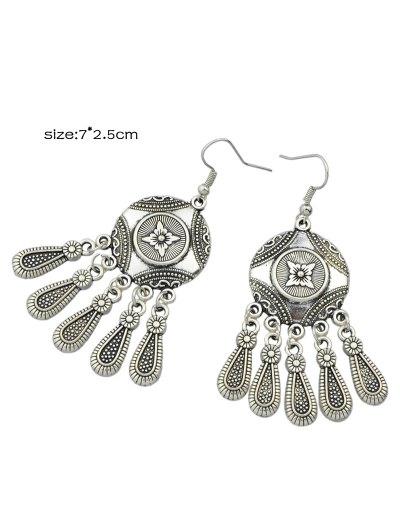 Engraved Flower Pattern Chandelier Earrings - SILVER  Mobile