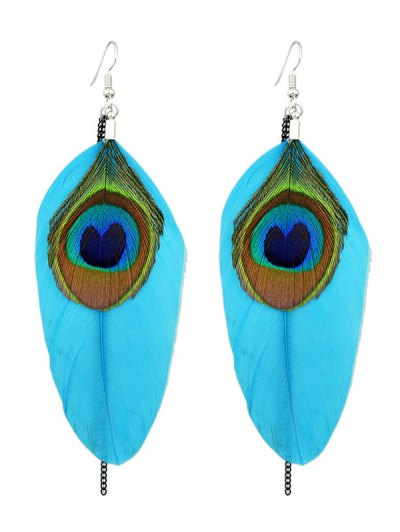 Bohemian Style Peacock Feather Earrings - BLUE  Mobile