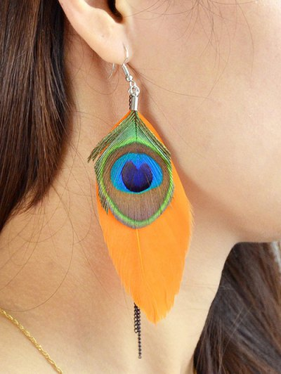 Bohemian Style Peacock Feather Earrings - ORANGE  Mobile