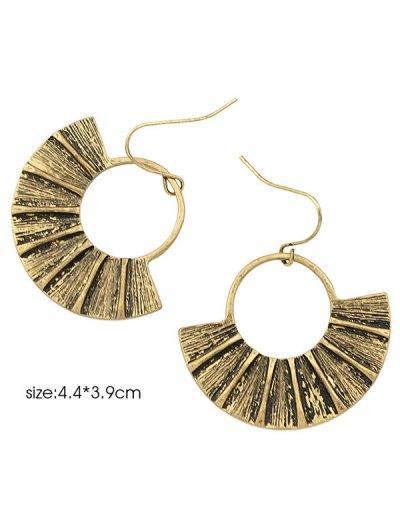 Circle Fan-Shaped Earrings - GOLDEN  Mobile