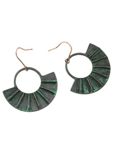 Circle Fan-Shaped Earrings - BLACK  Mobile