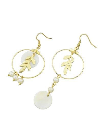 Asymmetric Faux Pearl Leaf Earrings - GOLDEN  Mobile