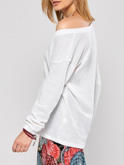 Long Sleeve V Neck Jumper - WHITE L Mobile