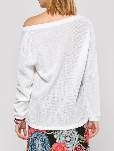 Long Sleeve V Neck Jumper - WHITE M Mobile