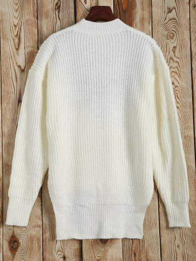 Mock Neck Embroidered High Low Sweater - WHITE ONE SIZE Mobile