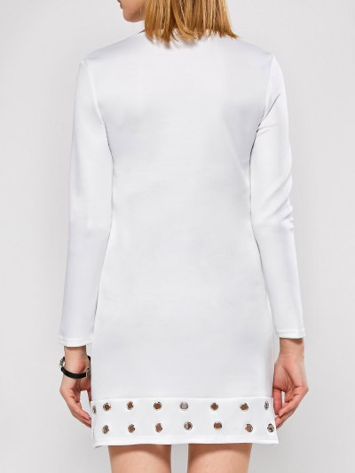 Long Sleeve Jewel Neck Hollow Out Dress - WHITE XL Mobile