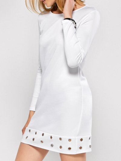 Long Sleeve Jewel Neck Hollow Out Dress - WHITE S Mobile