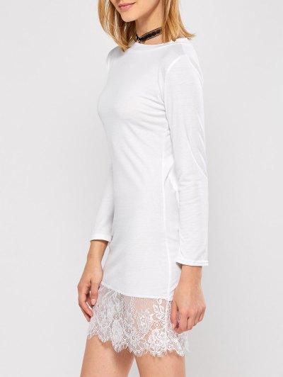 Lace Spliced Slash Neck Dress - WHITE M Mobile