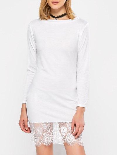 Lace Spliced Slash Neck Dress - WHITE S Mobile