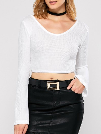 Bell Sleeve V Neck Cropped Sweater - WHITE L Mobile