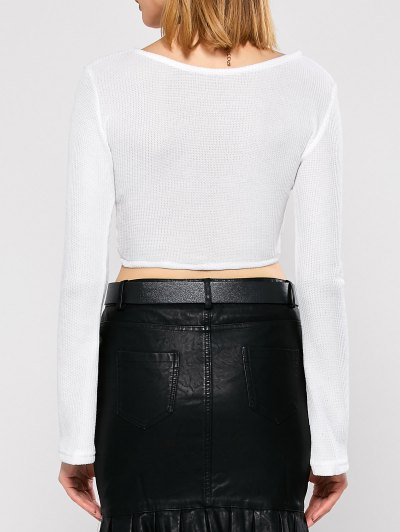 Bell Sleeve V Neck Cropped Sweater - WHITE M Mobile