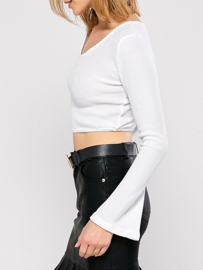 Bell Sleeve V Neck Cropped Sweater - WHITE S Mobile