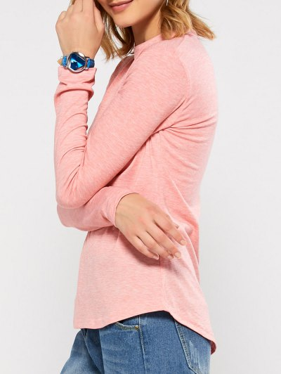 Cut Out Stand Neck Top - PINK M Mobile