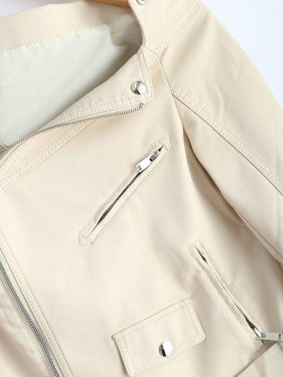 Off Shoulder Zippered Biker Jacket - OFF-WHITE M Mobile