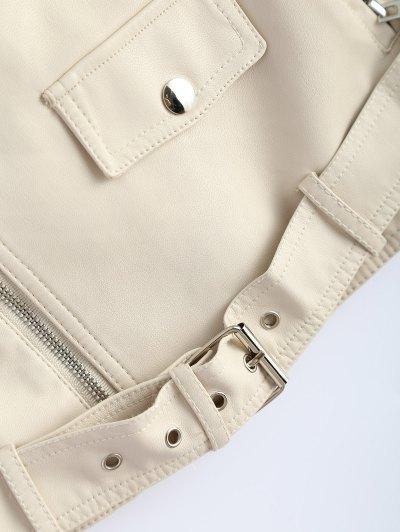 Off Shoulder Zippered Biker Jacket - OFF-WHITE S Mobile