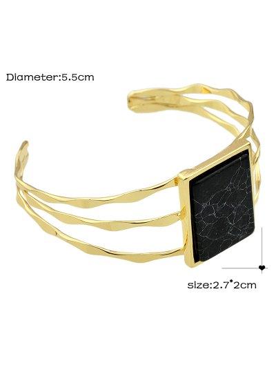 Layered Natural Stone Geometric Cuff Bracelet - BLACK  Mobile