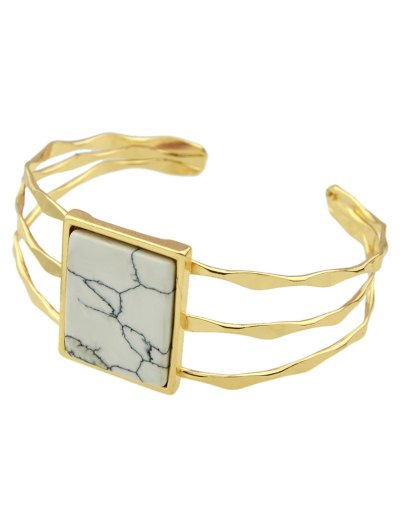 Layered Natural Stone Geometric Cuff Bracelet - WHITE  Mobile