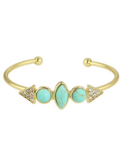 Faux Turquoise Rhinestone Geometric Cuff Bracelet - GOLDEN  Mobile