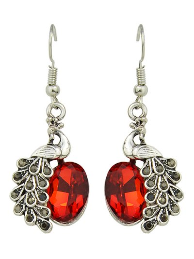 Faux Gem Peacock Necklace and Earrings - RED  Mobile