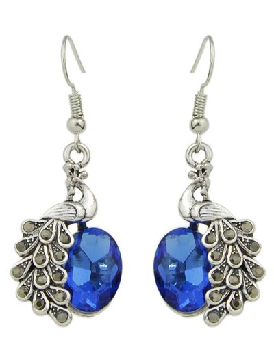 Faux Gem Peacock Necklace and Earrings - BLUE  Mobile
