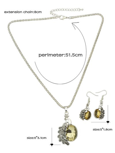 Faux Gem Peacock Necklace and Earrings - CHAMPAGNE  Mobile