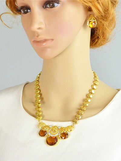 Faux Gem Necklace Earrings Bracelet and Ring - YELLOW  Mobile