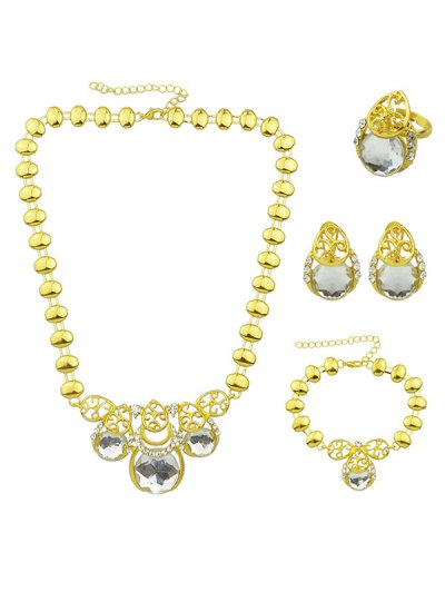 Faux Gem Necklace Earrings Bracelet and Ring - WHITE  Mobile