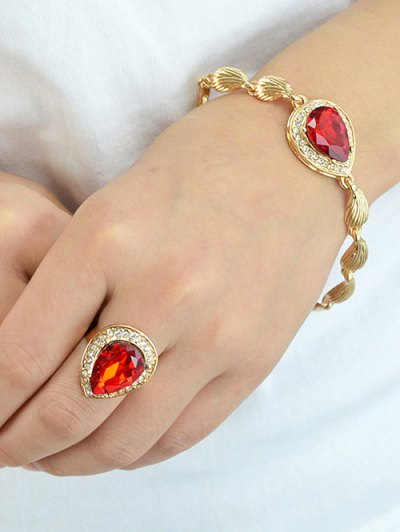 Faux Ruby Necklace Earrings Bracelet and Ring - RED  Mobile
