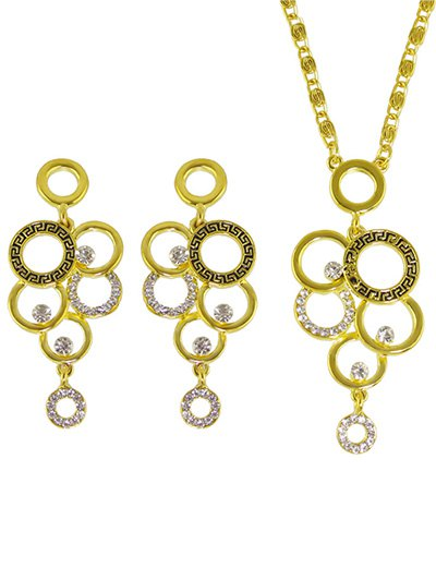 Rhinestoned Round Necklace and Earrings - GOLDEN  Mobile