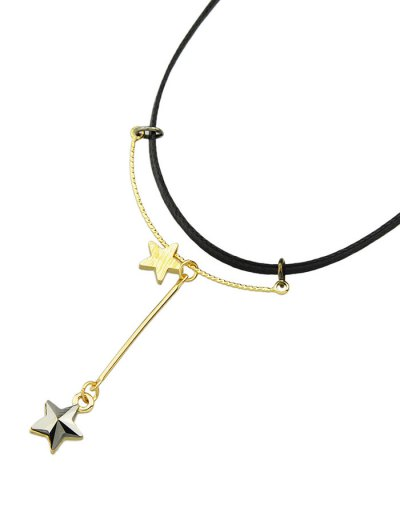 Faux Leather Rhinestone Pentagram Necklace - BLACK  Mobile