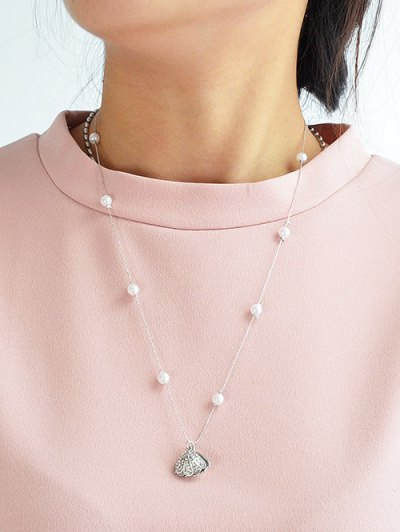 Rhinestoned Artificial Pearl Conch Necklace - SILVER  Mobile