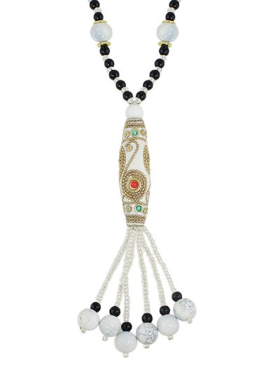 Bohemian Style Beads Necklace - WHITE  Mobile