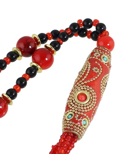 Bohemian Style Beads Necklace - RED  Mobile