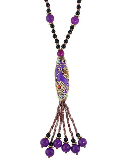 Bohemian Style Beads Necklace - PURPLE  Mobile