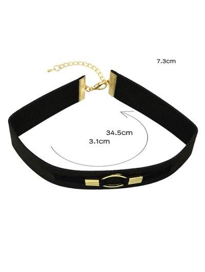 PU Leather Velvet Circle Choker Necklace - BLACK  Mobile