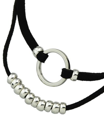Artificial Leather Velvet Circle Layered Choker - SILVER  Mobile