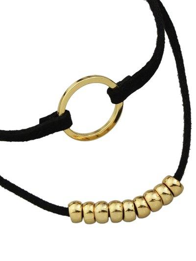 Artificial Leather Velvet Circle Layered Choker - GOLDEN  Mobile