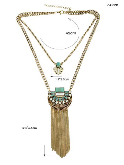Artificial Turquoise Rhinestone Geometric Layered Necklace - GOLDEN  Mobile