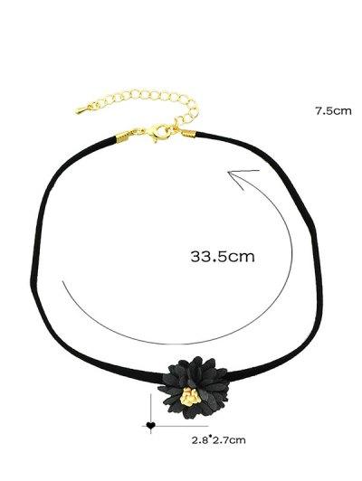 Artificial Leather Flower Velvet Choker Necklace - BLACK  Mobile
