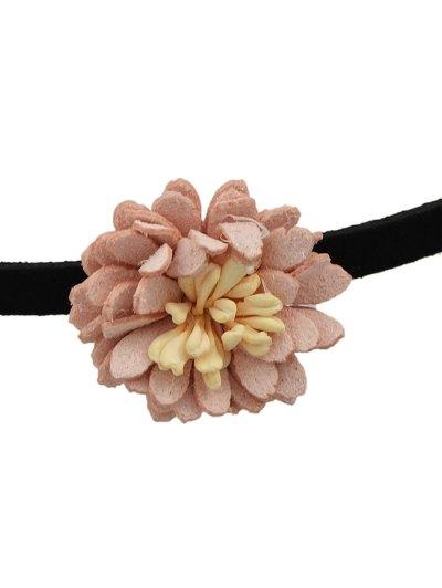Artificial Leather Flower Velvet Choker Necklace - PINK  Mobile