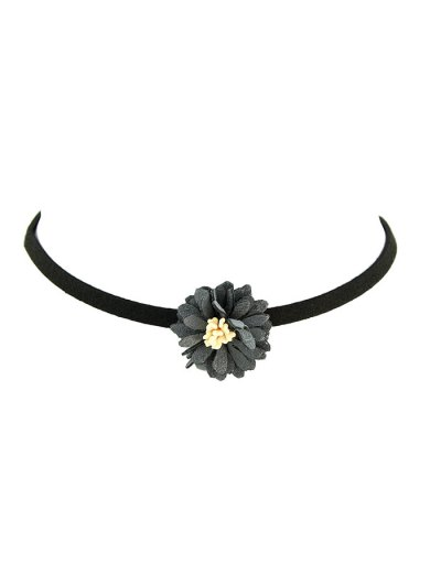 Artificial Leather Flower Velvet Choker Necklace - GRAY  Mobile