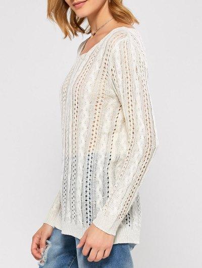 Heart Cutout Back Open Stitch Sweater - WHITE L Mobile