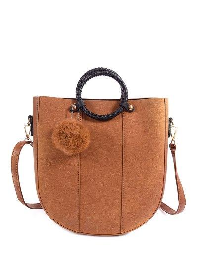 Pompon Metal PU Leather Tote Bag - LIGHT BROWN  Mobile