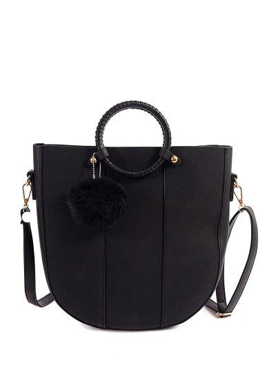 Pompon Metal PU Leather Tote Bag - BLACK  Mobile