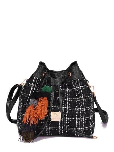 Tweed Drawstring Plaid Pattern Crossbody Bag - BLACK  Mobile